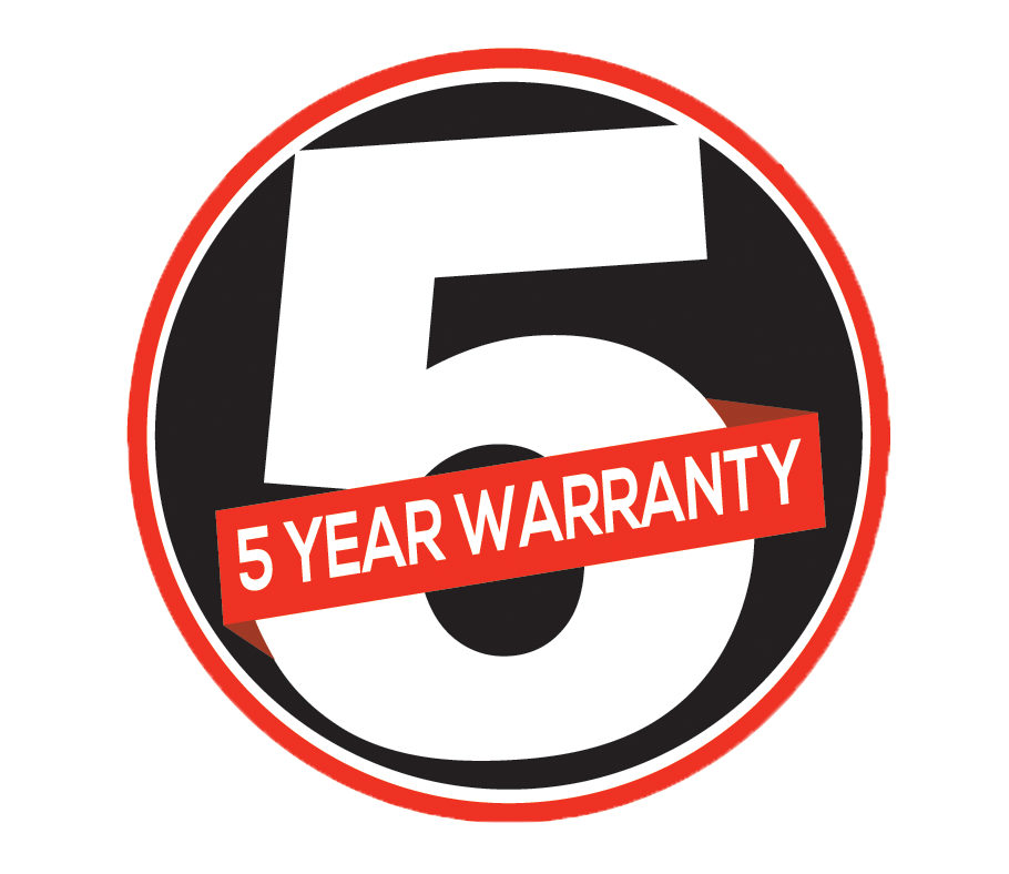 5 year warranty logo red