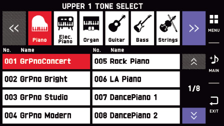 Tone Select Screen