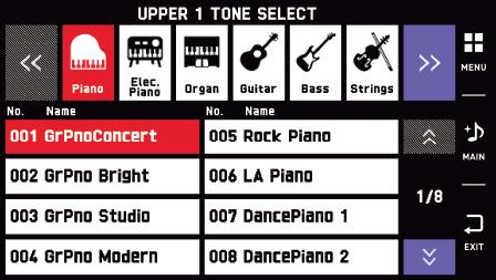 Tone Select Screen