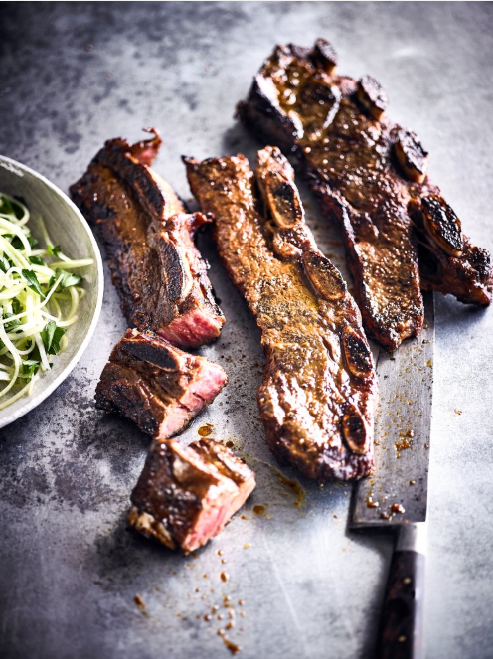 BEEF RIB KALBI WITH YUZU PARSLEY CUCUMBER SALAD