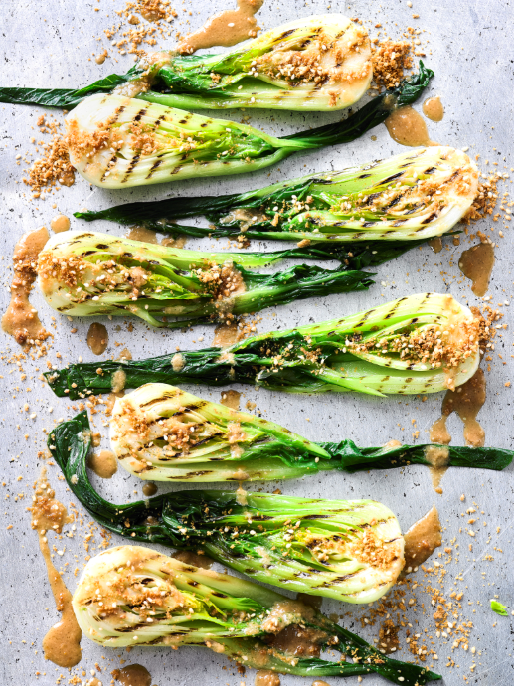 BABY BOK CHOI WITH WARM MISO AND GINGER DRESSING