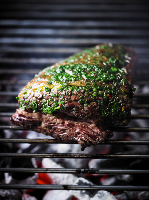 WHOLE GRILLED FLANK STEAK WITH WILD GARLIC CHIMICHURRI
