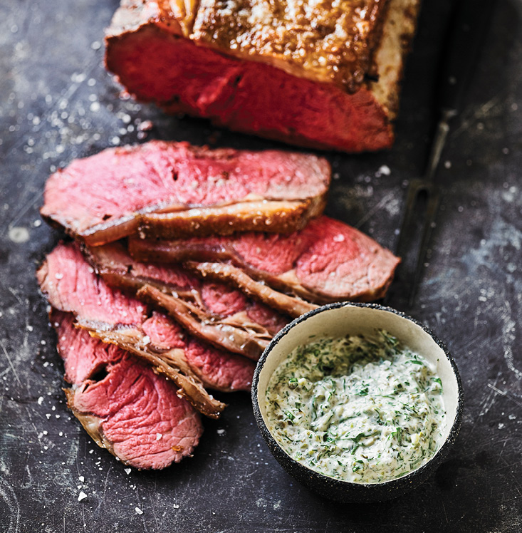 Spit-roast Sirloin with Green Thursday-inspired Sauce
